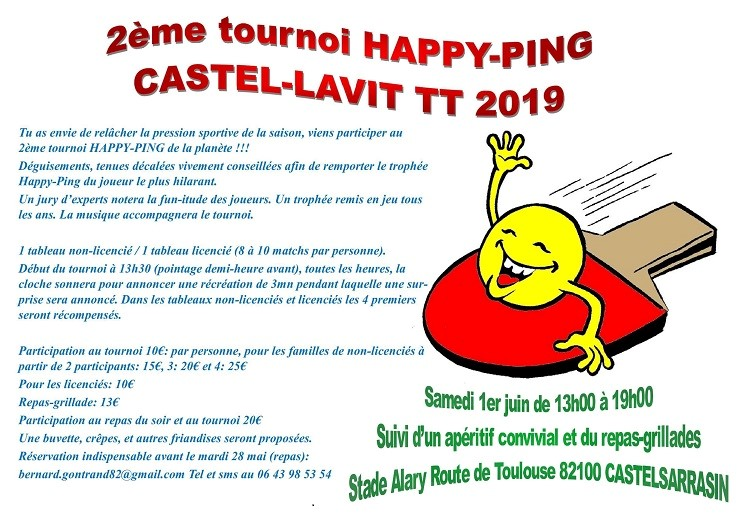 Tournoi « happy-ping » le 1er juin